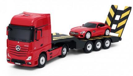 Rastar : Mercedes-Benz Actros távirányítós kamion, kisautóval 1:24 RTR 2,4 GHz,piros