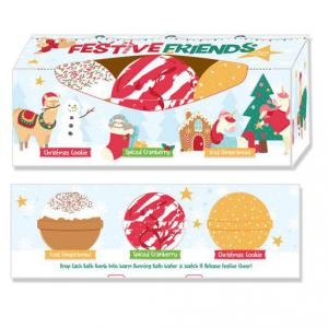 Karácsonyi fürdőgolyó Szett, 3 db-os,Karácsony Barátai(Karácsonyi Keksz/Fűszeres Áfonya/Mézeskalács)
