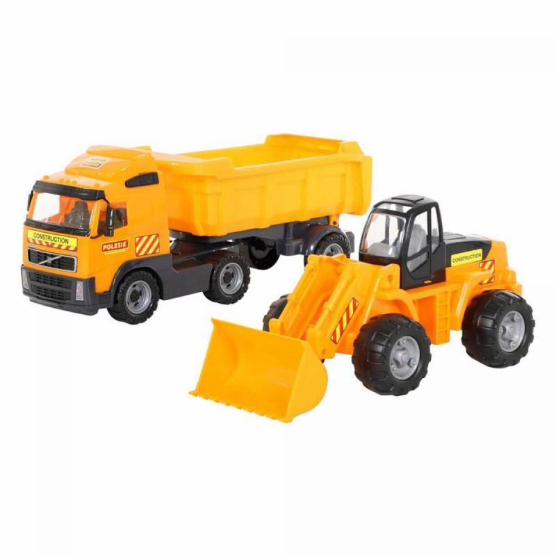 Volvo billencs kamion és markoló dobozban