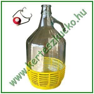 Dáma üveg, 5 literes, fém csattal