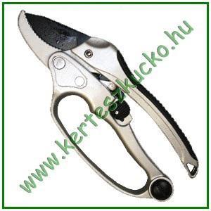 Metszőolló (áttételes, racsnis, fém nyél, 20 cm)