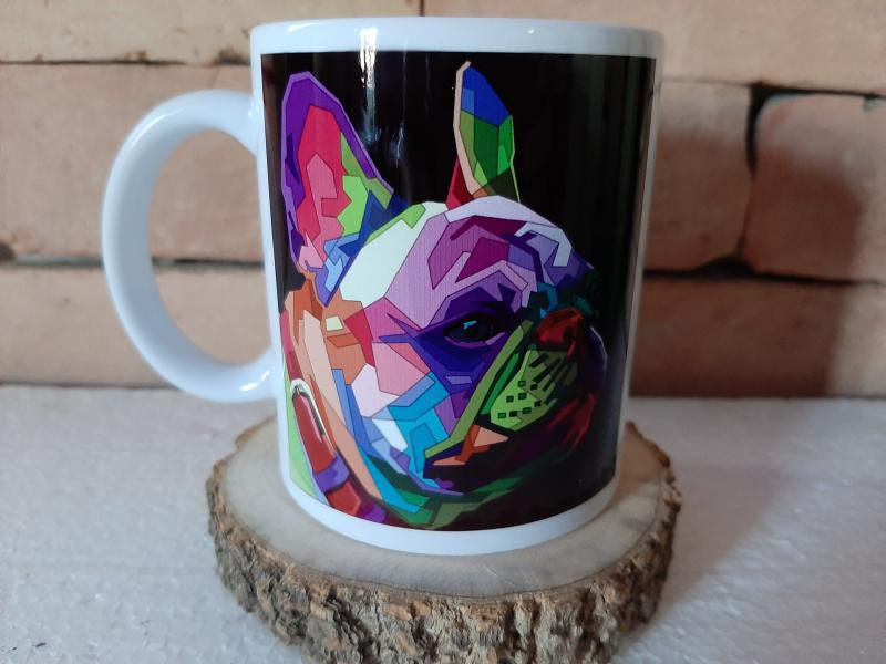 Francia bulldog, színes bögre