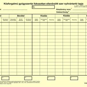 Közforgalmú gyógyszertár fokozottan ellenőrzött szer nyilvántartó lapja (1 db)