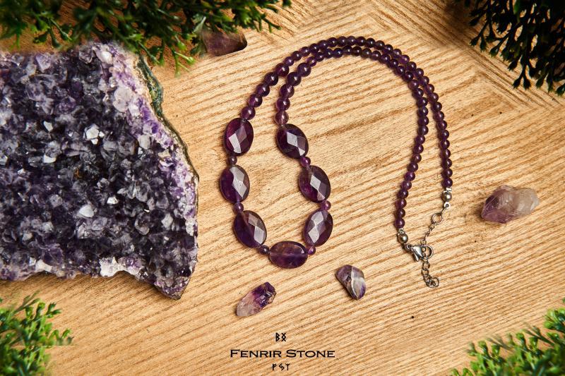 Sötét lila Ametiszt nyaklánc állítható mérettel